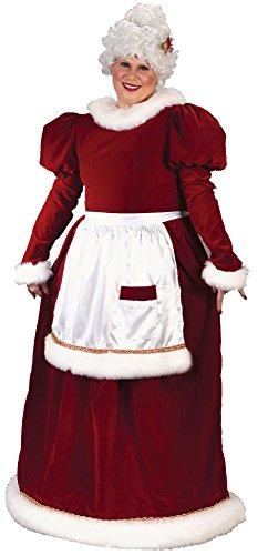 Frauen Plus-Size Plus größe Erwachsener samt Frau Santa Anzug, Rot/Weiß, X-Large (Santa Anzug Frauen)