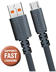 Amkette Micro USB Extra Tough Cable with upto 3.0A Fast Charging, 1.5m Long (Space Grey)