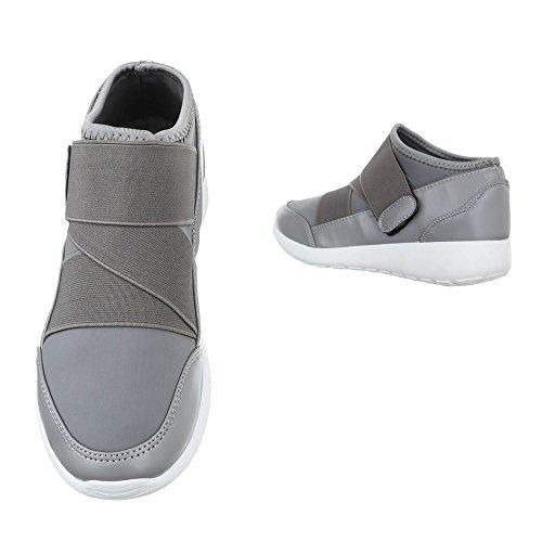 Sneakers casual grigie con chiusura velcro dOTRbcFOe3