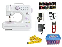CreativeVia HA-SM05 10 built-in Stitch Pattens Portable & Compact Multi-Functional Electric sewing Machine