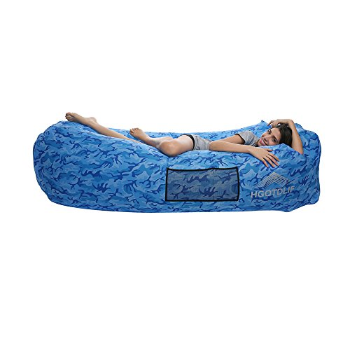 Sofá inflable portátil de aire, tumbona sofá saco de dormir, ideal para descansar, Camping, playa, pesca, niños, partes., Camouflage Blue