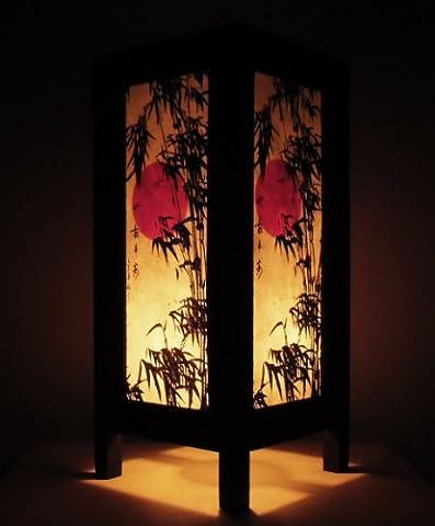 Rare Asie thaï Lampe de Tables Bouddha Style Chevet Coucher de Soleil Bambou Japonais Par