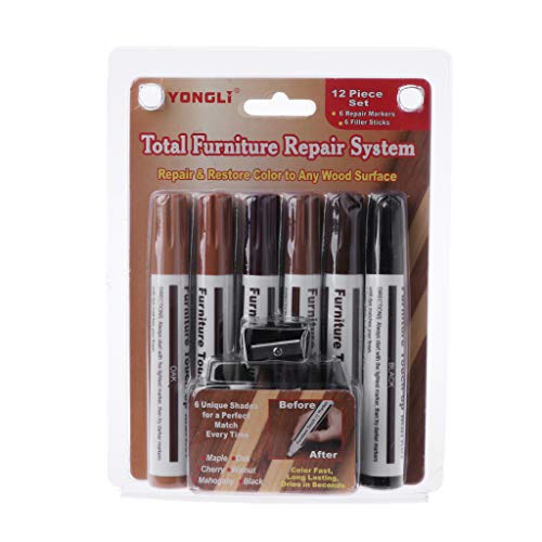 BIlinli Wood Repair System Kit Filler Sticks Touch Up Marker Floor Furniture Scratch Fix