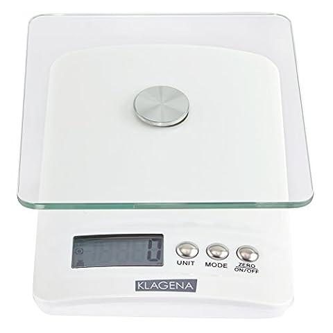 KLAGENA Digitale Küchenwaage mit LCD-Display, in weiß, bis 5000 g - Elektronische Waage / Lebensmittel-Waage / Brief-Waage / Tisch-Waage / Digital-Waage - mit 2 Jahren