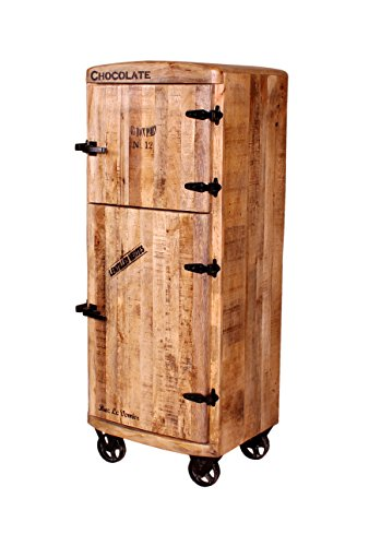 SalesFever Bar-Schrank mit 2 Holz-Türen aus massivem Mango-Holz Antik-Finish 60x145 cm | Crust | Edler Hoch-Schrank mit Kühlschrankgriffen und schwarzen Beschlägen 2-türig 60cm x 145cm