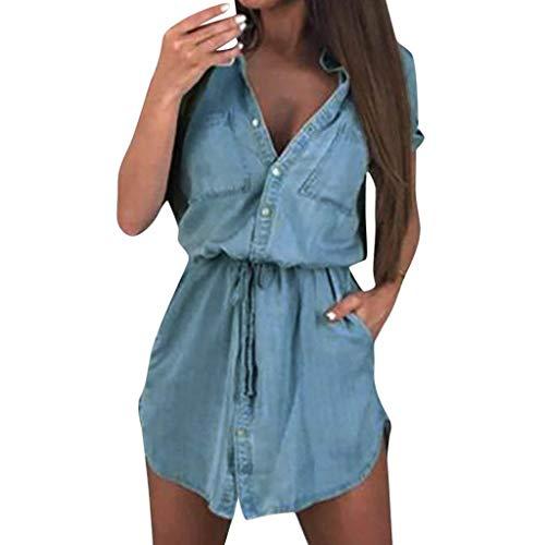 Damen Elegantes, figurbetontes Partykleid Damen Sommer Solides Kurzarm Einreiher Minikleid mit Gürtel - Einreiher Mit Gürtel