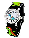 Happy Cherry Unisex Kinderuhr 3D Student Uhr mit Uhrenbox Größes Zifferblatt Armbanduhr Gummi Band Armbanduhr für Jungen Mädchen Kinder-Dinosaurier
