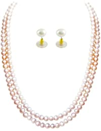 Trendy Souk --- Dual LINE PEACH MAGIC--- Real FreshWater Hyderabadi Pearls, AAA Quality, Pearls Necklace