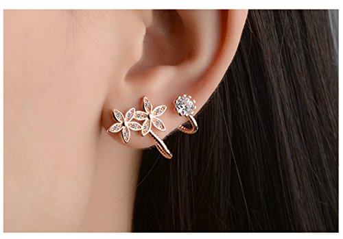 Epinki Damen 1 Paar Rosegold Mode Blumen Ohrklemme Ohrringe 925 Silber Fake Piercing Ear Cuff Ohr Klammern Fake Piercing Fake Loch Piercing