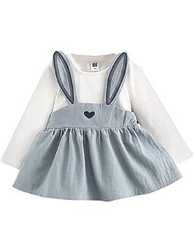 Amlaiworld baby niedlich tops kleid Kaninchen Ohren kleider Mädchen Prinzessin weich langarm shirt Flickwerk band...