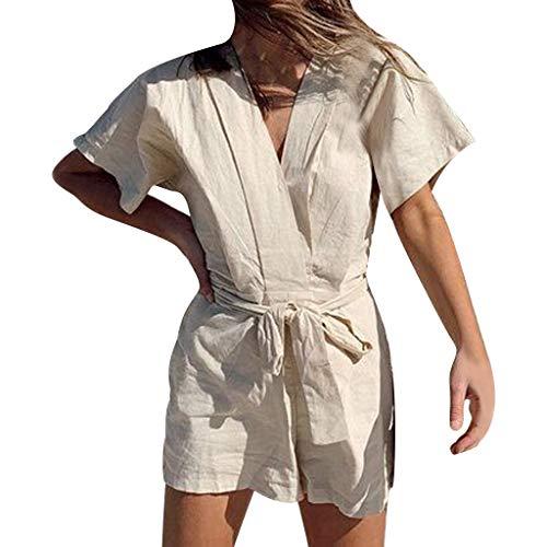 SHE.White-jumpsuit damen Sommer Einfarbig Kreuz V-Ausschnitt Overall Kurze Ärmel Riemchen Baumwolle und Leinen SiameseKurze Hose ()
