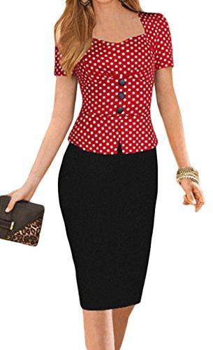 Klassisches Design Kurze Ärmel Damen Tiefer Kragen Vintage Kleid Etuikleid Schlauch Cocktail Tulpenkleid