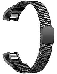 Fitbit Alta HR y Alta Correa, Fintie [Cerradura única del imán] Inoxidable Milanese Bucle Reemplazo SmartWatch Banda de Reloj de Acero Mariposa Pulsera Accesorios para Fitbit Alta HR 2017 y Alta Fitness Tracker - Negro