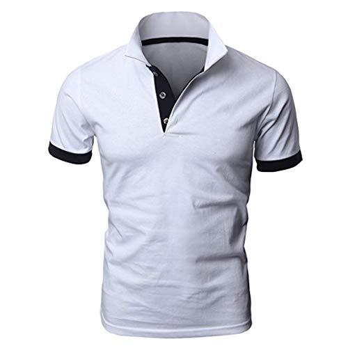 Herren Persönlichkeit Kurzarm Shirts Casual Solid Color Pullover Shirt