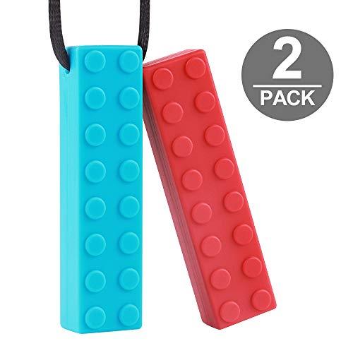 Sensory Chew Halskette von TYRY.HU Set Lego Beißring Silikon Kauen Anhänger Perfekt für Autismus ADHS SPD Oral Motor Zahnen & Beißen braucht 2 Packs Tough und langlebig (Rot Blau)