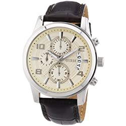 Guess Men's Watch Quartz Chronograph XL Leather Exec W0076G2