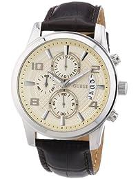 Guess W0076G2 - Reloj cronógrafo de cuarzo para hombre con correa de piel, color marrón