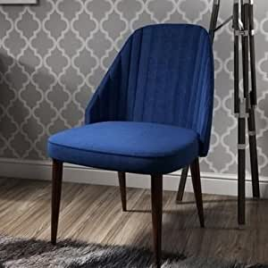 Greenwich Upholstered Occasional Accent Chair in Blue Velvet