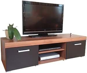 sydney tv schrank tv unterschrank 2 t ren 140 cm schwarz walnu braun k che. Black Bedroom Furniture Sets. Home Design Ideas