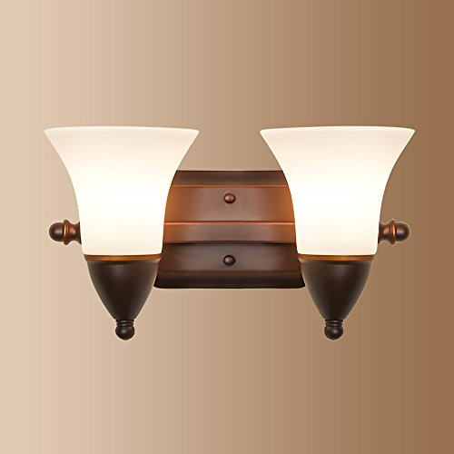 Lampe murale à 2 têtes 11-15W LZC Moderne mode E27 Interface rotative, source de lumière * 2 tension 110-240V Fer à repasser + abat-jour en verre Lampe de chevet Chambre salon Escalier (marron)