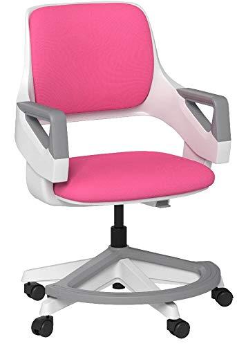 hjh OFFICE 640480 Kinder- und Jugendstuhl Kid Flex Stoff Pink mitwachsender Drehstuhl, Fußablage & Rückenlehne höhenverstellbar