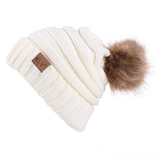 Damen Mädchen Beanie Mütze Strickmütze Winter Strickmütze Warm Wolle Gestrickte Beanie Hut Hat Cap, Weiß Schwarz Braun Kaffee Grau.