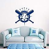 Baseball Wall Decal Crossed Pipistrelli Decalcomania Sport Vinile Adesivi Camera da letto Decor Wall Stickers Home Decor Soggiorno 57x56cm alta qualità