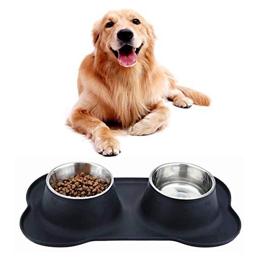 GXL Dog Schalen, Edelstahl Fressnapf, Hund Wasser Schalen Pet Schüssel mit auslaufsicherem, rutschhemmenden Silikon Matte, Feeder, Schalen für Hunde Katzen Haustiere, Set von 2Schalen (Dog Feeder-schalen)