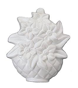 Italveneta Didattica 9131-Juego 9131-Juego 2Macetas con Flores en Relieve de poliestireno H. 240mm, poliestireno, Blanco, 2Unidades