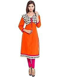 Om trading Girl's Cotton Regular Fit Kurta (Orange)