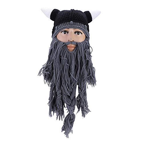 Dilwe Bart Strickmütze, Frauen Männer Viking Piraten Cosplay Hut Strick Lustige Vollbart Maske für Karneval Halloween Geburtstagsfeier(Grau) - Sparrow Jack Piratenhut