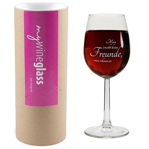 Weinglas MIT GESCHENKBOX 'Man erwirbt keine Freunde, man erkennt sie.' Geschenkidee, Geschenk,...