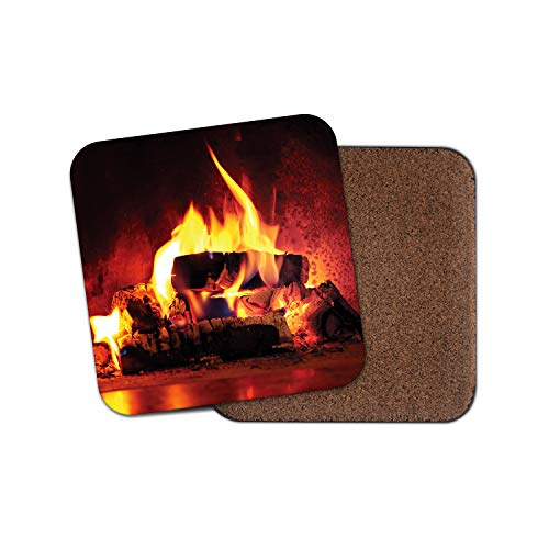 1 x Cool Open Log Fire Untersetzer - Winter Wärme Home Style Decor Holz Fun Geschenk #16344 - Open-style Schreibtisch