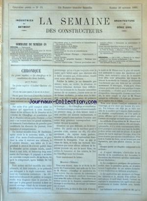 SEMAINE DES CONSTRUCTEURS (LA) [No 18] du 30/10/1880