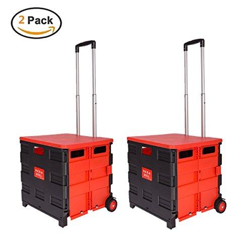 Ectxo 2er Einkaufskörbe mit Rollen Einkaufskörb Faltbar Einkaufstrolleys Klappbarer Shopping Trolley 45L 35KG (mit Deckel, Schwarz-Rot)