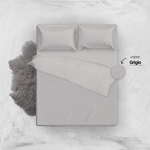 L'antico arcolaio set completo letto lenzuola 100% cotone tinta unita (grigio, matrimoniale 2p)