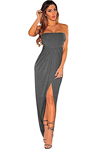 Shelovesclothing Women's New Pink Draped Hollow-out High Leg Front Slit Summer Ruched Maxi Dress (Large,