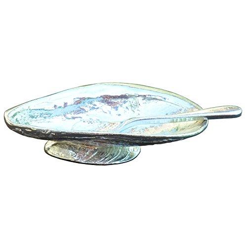 Muschel-salz (Feine Zinn Muschel auf Muschel Salz Schüssel mit Löffel, handcast in Zinn von William Sturt)