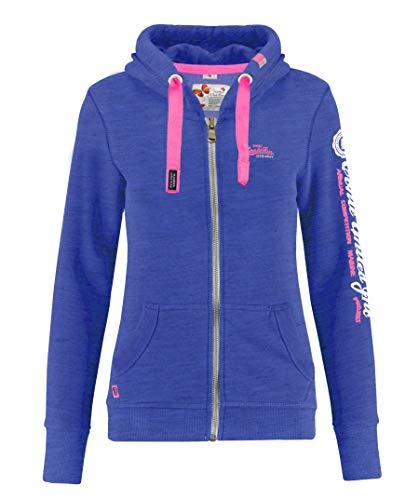 M.Conte Rachel Damen Hooded Sweater Sweat-Shirt-Jacke S M L XL Weiss Blau Grau Schwarz Pink Mit Kapuze Blau Meliert S