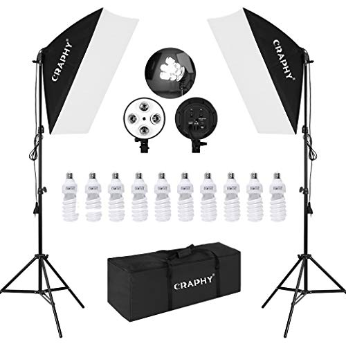 CRAPHY Softbox Set, Softbox Dauerlicht mit 4 in 1 Lampenfassung, Studioleuchte Set mit 2X Softboxen, 10x Fotolampen(45W), Softbox...