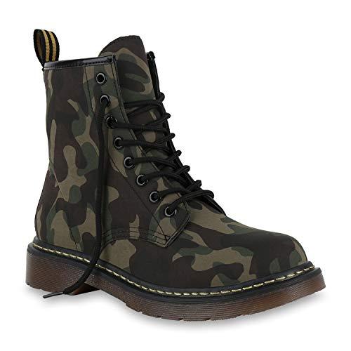 Stiefelparadies Damen Stiefeletten Worker Boots Profilsohle Stiefel Outdoor Schuhe 175414 Camouflage 39