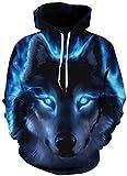 Ocean Plus Jungen 3D Kapuzenpullover Spaß Sweatshirt Hoodie mit Kängurutasche Sportlich Digitaldruck Pullover mit Kapuze (S/M (Erwachsenengröße: 155-170cm), Blauäugiger schwarzer Wolf)