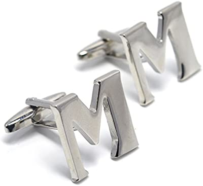 MESE London Gemelos De Iniciales Con Letras Del Alfabeto – Letra M De Plata