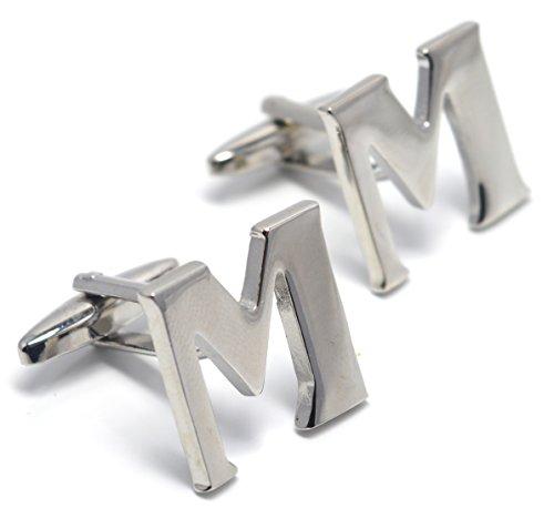 MESE London Buchstabe Name M Initiale Manschettenknöpfe Versilbert in Luxus Geschenkbox (Luxus Kostüm Schmuck Uk)
