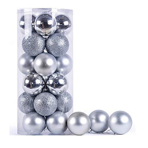 Domowin palline di natale, palline per albero di natale palle sfere addobbi albero di natale palline addobbi natalizie palline set con 24 pezzi (6cm argento)
