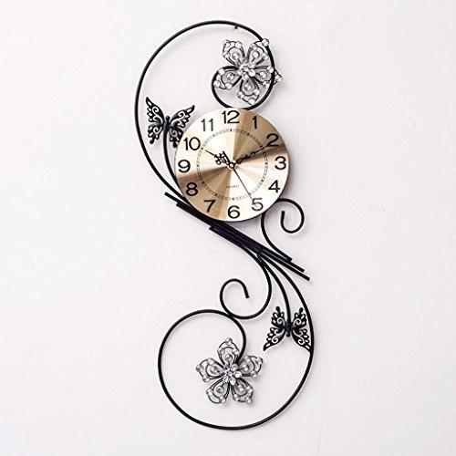 O&YQ Mode Uhr, Uhr, Tisch Wohnzimmer einfache Schmetterling Taschenuhr stumm Schlafzimmer Uhr,Schwarz -