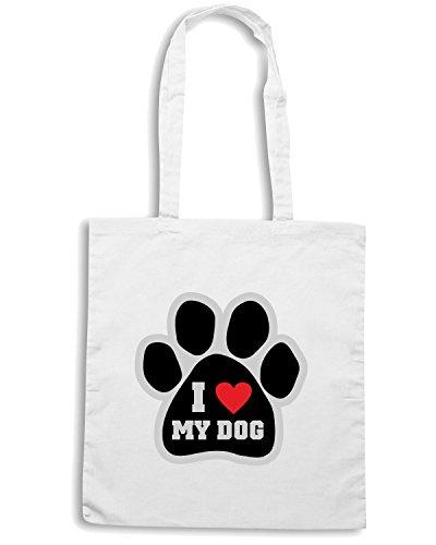 T-Shirtshock - Borsa Shopping T0014 I LOVE MY DOG Bianco