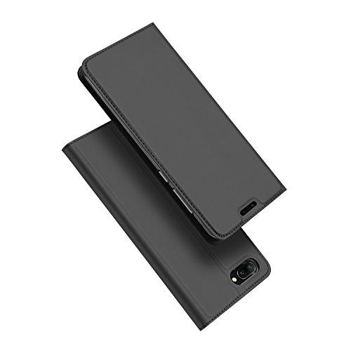 DUX DUCIS Huawei Honor 10 Hülle,Flip Folio Handyhülle [Standfunktion] [1 Kartenfach] [Magnet] [Anti-Rutsch] Ultra Dünn Holster Ledertasche Schutzhülle Case Cover für Huawei Honor 10 (Grau)