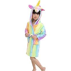 Hotmall Camisón Unicornio con Capucha para Niños Franela Albornoz Ropa de Dormir Unisexo Arco Iris Estrella de Pijamas de Dibujos Animados Disfraces de Animales para Niños Niñas