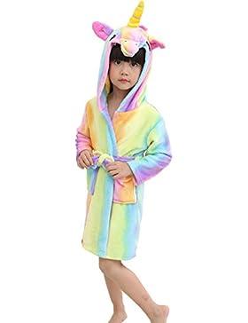 Camicia da Notte con Cappuccio Unicorno per Bambini, OKSakady Kid Unisex Flanella Arcobaleno Stella Biancheria...
